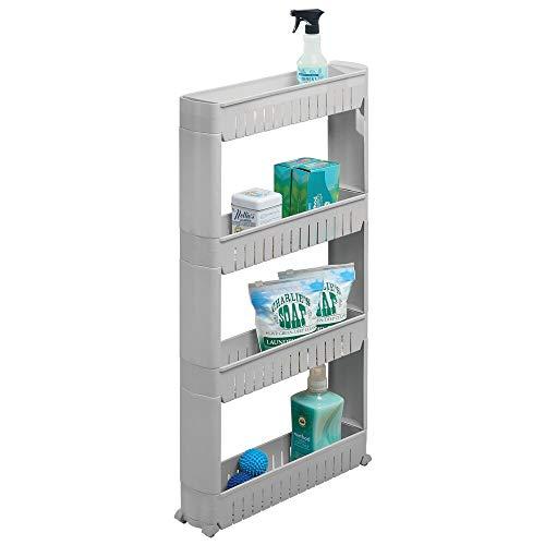 mDesign Mueble auxiliar para lavadero – Compacta estantería con ruedas para guardar detergentes, quitamanchas, etc. – Práctico carro de lavandería de plástico con cuatro amplios estantes – gris