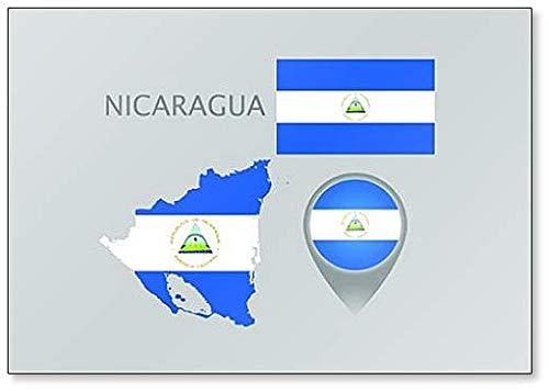 Kühlschrankmagnet, Motiv Flagge & Karte von Nicaragua