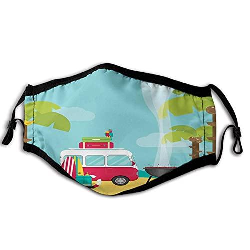 Explore, caravane, camping avec barbecue et planches de surf, plage tropicale, banane, cocotiers, masque de bouche multicolore anti-respirant, absorbant la transpiration pour adulte