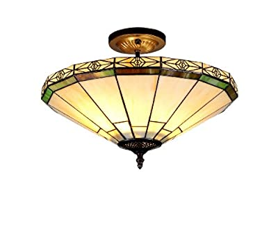 Chloe Lighting Chloe Lighting Belle 2-Light Tiffany Style Mission Semi Flush Ceiling Fixture with 16 in. Shade
