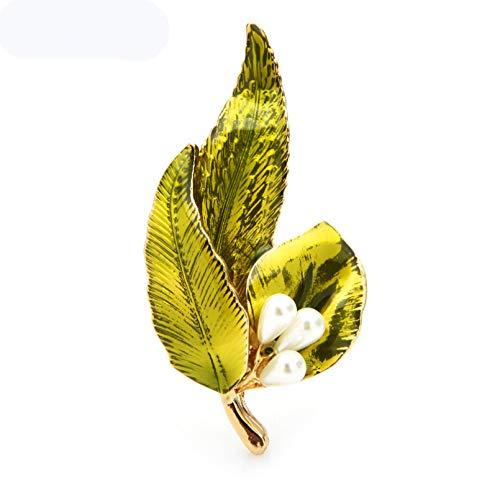 Qpodgq Broche Broches De Hojas De Esmalte De Perlas Broches De Oficina Informales Para Fiesta De Flores De 3 Colores Para Mujer