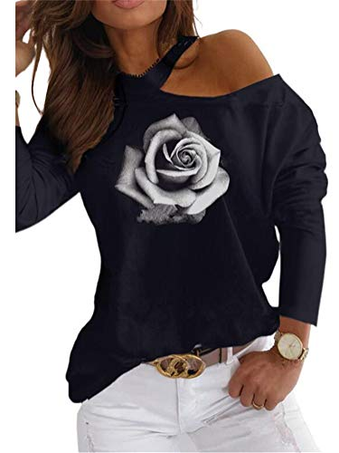 ORANDESIGNE Damen Valentinstag Langarm T-Shirt Herzmuster Drucken Langarmshirt Sexy Schulterfrei Oberteile Casual Grafikdruck Pullover Tunika Tops I Blau XS