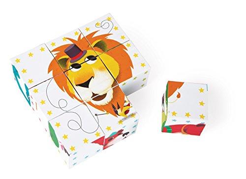 Janod - Maleta Kubkid, Puzzle Animales del Circo, 9 Cubos (J02817)