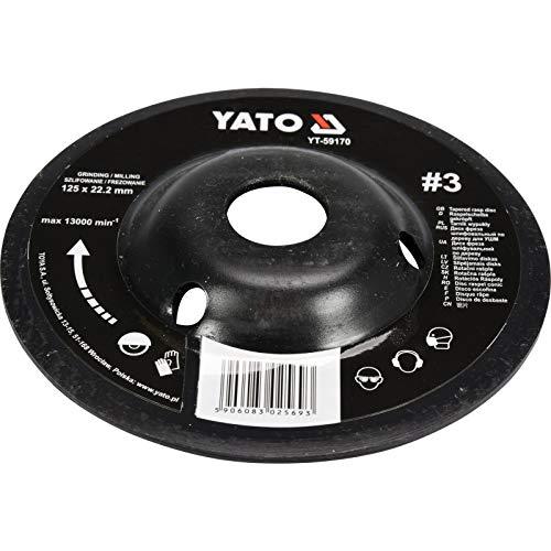 YATO professionele raspschijf voor haakse slijper selectie 115 mm 125 mm slijpschijf houtschijf Flex houtkunst, 125mm Nr 3, 1