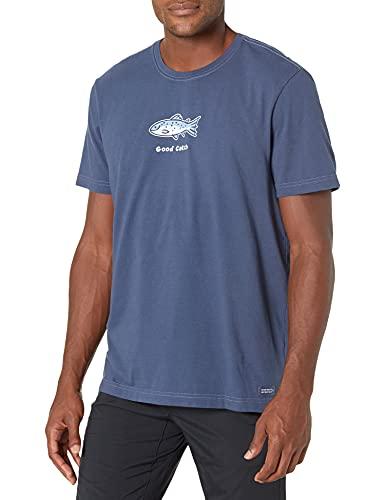 Life is Good Men's Vintage Crusher Graphic T-Shirt, Good Catch, Darkest Blue, X-Large