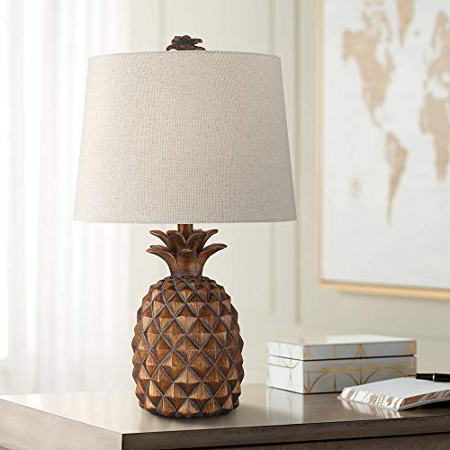 Paget Coastal Tropical Style Accent Table Lamp Pineapple Brown Oatmeal Fabric Tapered Drum Shade Decor for Living Room Bedroom Beach House Bedside Nightstand Home Office Family - Regency Hill