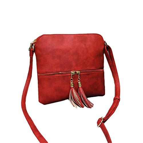 Yeucan Women Faux Leather Cross Body Tassel Zipper Shoulder Bag Small Shell Bag,Red