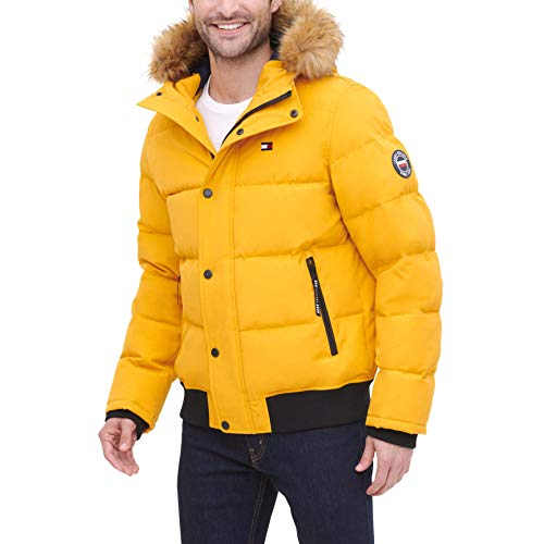 Tommy Hilfiger Men's Quilted Arctic Cloth Snorkel Bomber Jacket with Removable Hood (Standard and Big & Tall), Yellow, Medium