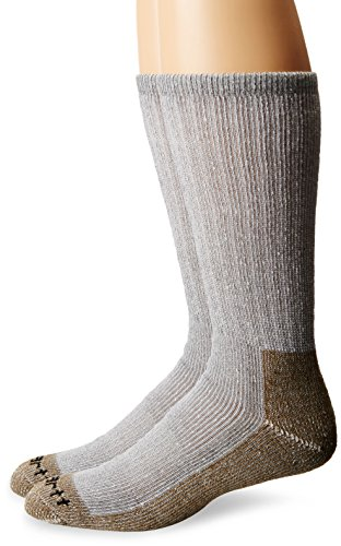 Carhartt Men's 2 Pack Full Cushion Steel-Toe Synthetic Work Boot Socks, Heather Grey, Shoe Size: 11-15