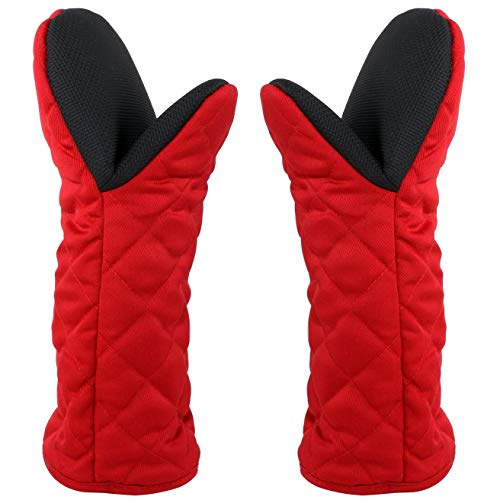 """Puppet Oven Mitts Red Cotton Neoprene Non-Slip Rubber Long Sleeve Arm Soft,Oven Gloves for Women Mum Hot 500℉ Heat Resistant Hand Safe Microwave Home Kitchen Chef Cooking Baking Cookie 13"""" 2 Pack"""