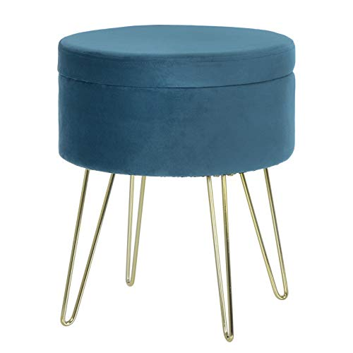 Hodge and Hodge Aria Storage Footstool Footrest Velvet Home Accessory - Teal