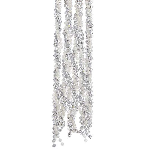 Kurt Adler 108-inch Silver and White Iridescent Twisted Bead Garland