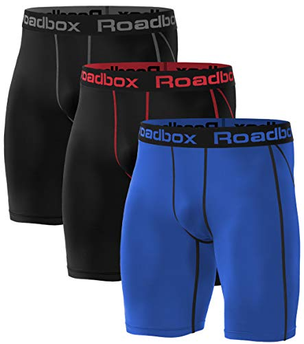 Roadbox 3er Pack Herren Kompressionsshorts, Laufhose Herren Kurz Schnelltrocknendes Baselayer Short Tights Kurz Hose L 3er Pack: Schwarz, Schwarz (Roter Streifen), Blau
