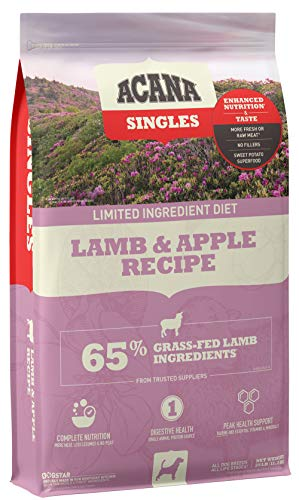 Acana Singles Limited Ingredient Dry Dog Food, Grain Free, High Protein, Lamb & Apple, 25lb