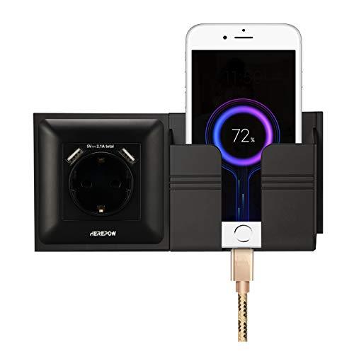 El enchufe tiene dos salidas de interfaz USB, el enchufe de pared y el enchufe integrado se utilizan en el hogar, la oficina y otras escenas (con soporte para teléfono móvil) (Negro 2)
