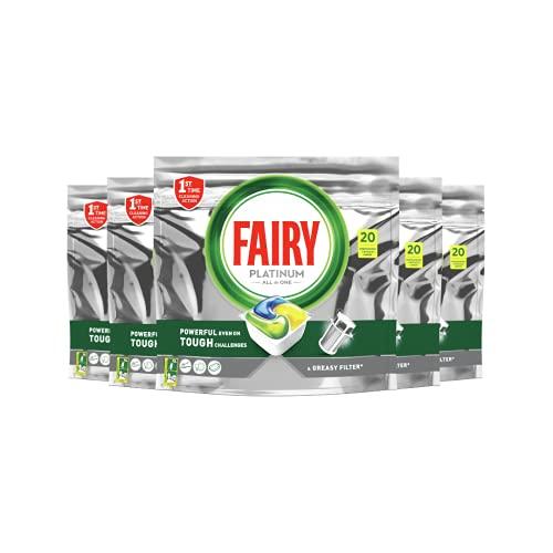 Fairy Platinum Dishwasher Tablets 100 Pack (20 Pack x 5), Value Bundle