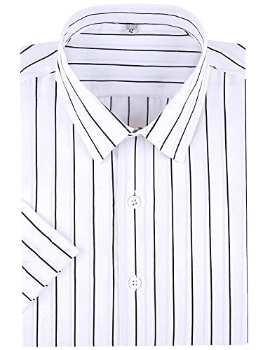 SOKKIA Men's Casual Business Vertical Striped Sleeved Button Up Dress Shirt (Short Sleeve-White Black, Medium)
