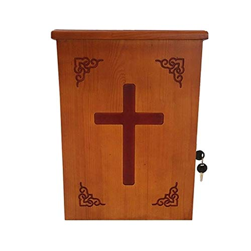 Massivholz-Widmung Box Geschnitzte Briefkasten-Desktop-Donation Box Kirche Fundraising Box Kirche Widmung Box kyman