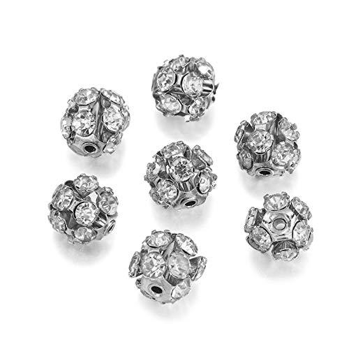 WEIGENG 30 cuentas sueltas de cristal chapado en cobre con diamantes de imitación de cristal para hacer pulseras (color: rodio, tamaño: 10 mm)