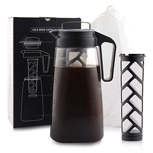 Sivaphe 64OZ Cold Brew Iced Coffee Maker Leak-proof with Removable Large Finish-mesh Filters 2 Quarts Manual Iced Tea Method