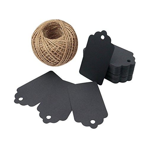 100 PCS Wedding Gift Paper Tags, 7CM * 4CM Black Card Tags Crafts Hang Labels with Jute Twine 30 Meters Long for Christmas Decorations