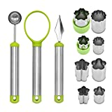 Wemaker 3 Pieces Melon Baller Scoop Set with utters Shapes Set, 3 in 1 Stainless Steel Fruit Scooper Fruit Carving Tools Set Watermelon Slicer for Ice Cream Vegetable Cantaloupe Melon