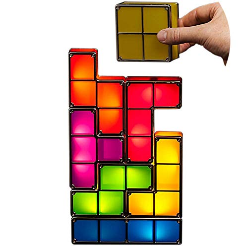 SJSF L Stackable Night Light, LED 7 Colors 3D Puzzles Toy Induction Interlocking Desk Lamp, DIY Tangram Light Magic Blocks Puzzles Toy Lamp for Kids Teens Bedroom