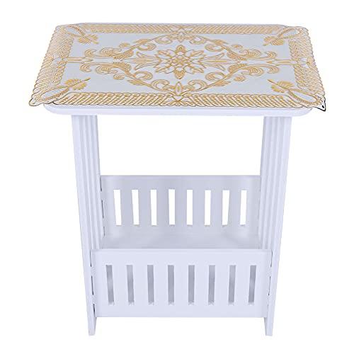 Mesa de té redonda, mesa auxiliar moderna y elegante, mesa auxiliar, escritorio, mesa de té para el hogar, con una cesta de almacenamiento, fácil de montar(Los 34 * 26 * 40cm)