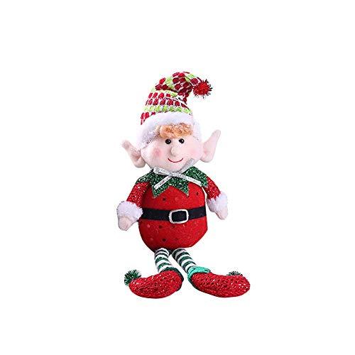 Ogquaton Lindo Colorido de largas piernas Elf Christmas Doll Party Gift Decoración del árbol de casa Adornos navideños Navidad Rojo