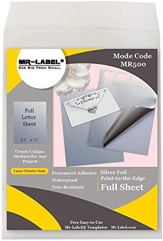Mr Label Full US Letter Sheet Silver Foil Labels for Inkjet Laser Printer Self Adhesive Stickers product image