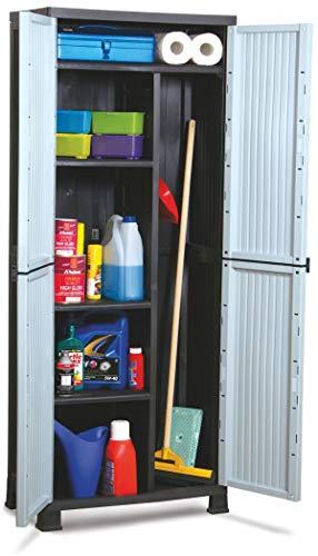 Kunststof kast Eco Slate | kleur zwart/grijze deuren | afmetingen 68 x 39 x 171,5 cm