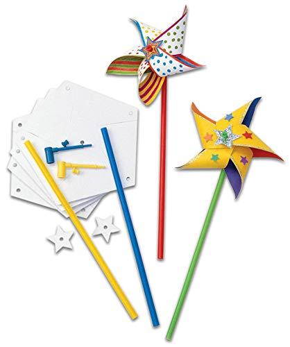 Colorations Bastelset Windräder, 24 Stück - Kinder basteln bemalen Bastelbedarf