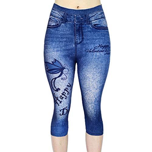 NQY Jeans Yoga Hose Leggings 3/4 Sommerhose Damen Hohe Taille Capri Hose Stretch Schmetterling gestickt Fake Denim Leggins draussen Reise Sporthose M