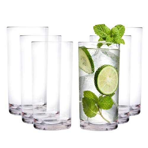 REALWAY 17-Ounce Shatterproof Plastic Water Tumbler, Clear Unbreakable Drinking Glasses, Dishwasher-Safe and BPA Free Set of 6