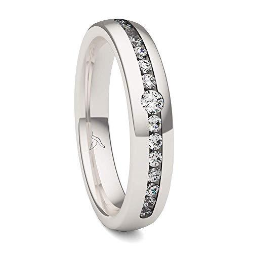 KOLIBRI RINGS - Ring Silber 925 Damen 15 Zirkonia Steine Freundschaftsring Partnerring Verlobungsring - 100 % Made in Germany Inkl. Etui (59 (18.8))