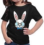 Hariz Zoo Plus - Camiseta de manga corta para niña, diseño de conejo con gafas Negro  12 años
