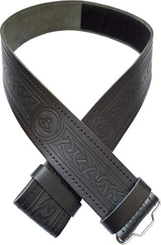 Ever Bright Mens Kilt Belt Celtic Embossed Black Leather Kilt Belt (Celtic Embossed Black, L 40' to 46')