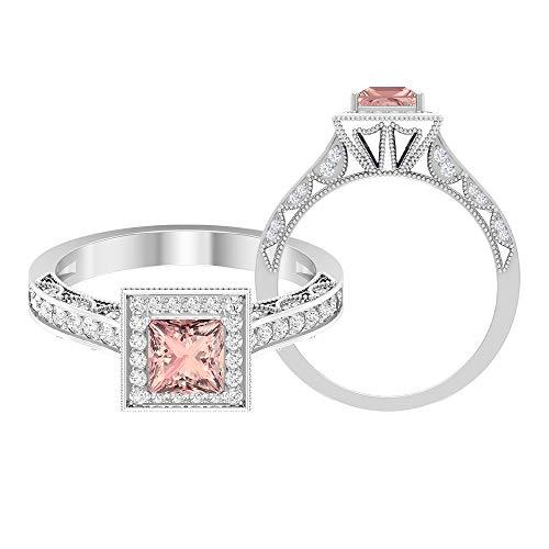 Anillo de boda Milgrain, Anillo de gemas de 1,21 quilates, HI-SI Diamond 5 MM Creado en laboratorio, Anillo de diamante de corte princesa, 14K Oro blanco, Size:EU 52