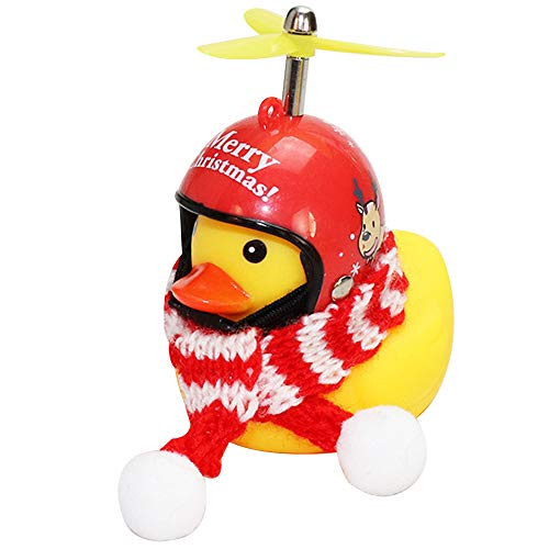 wonuu Rubber Duck Car Ornaments Yellow Duck Car Dashboard Decorations with Propeller Helmet for Christmas Decor and Home Decorations for Adults, Kids
