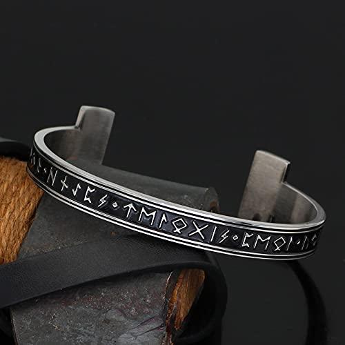 NICEWL Herren 316L Edelstahl Viking Runes Verstellbarer Armreif, Unisex Vintage Nordisches Keltisches Offenes Armband, Handgemachte Beste Wikinger-Schmuckgeschenke,Silber