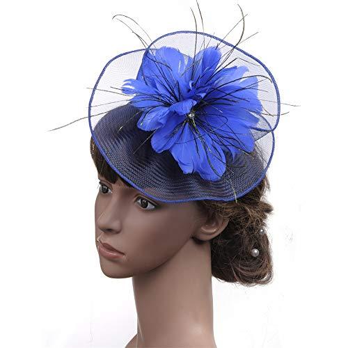 Chapeau De Fascinators Fascinators Chapeau Dames Tea Party Bandeau Kentucky Derby Réception De Mariage Fleur Mesh Plume Épingle À Cheveux Perle Pour Cocktail Royal Ascot ( Color : Royal blue )