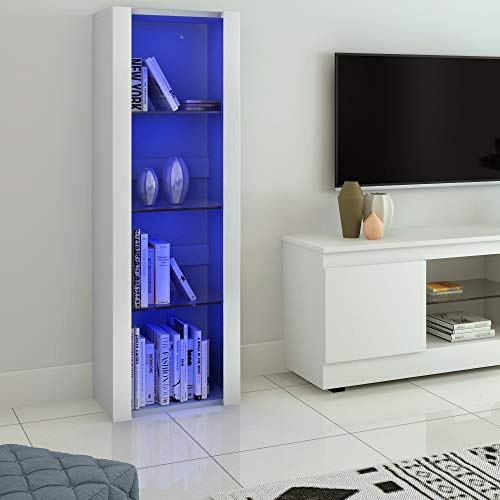 Panana - Vitrina con luces LED, mueble de almacenamiento con estantes para salón, oficina, 55 x 35 x 166 cm, color blanco