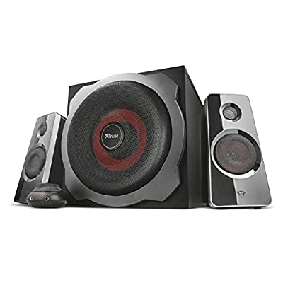 Trust Gaming GXT 38 Tytan 2.1 PC Gaming Speaker System with Subwoofer for Computer and Laptop, 120 W, UK Plug - Black/Red by Trust