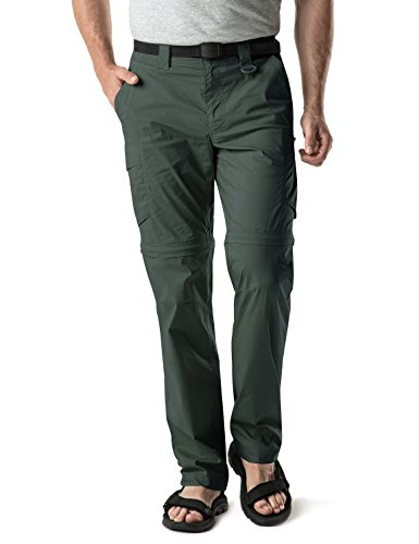 CQR Men's Convertible Pants Zip Off Stretch Durable UPF 50+ Quick Dry Cargo Shorts Trousers, Convertible Zip Cargo with Belt(txp402) - Green, 36W/36L