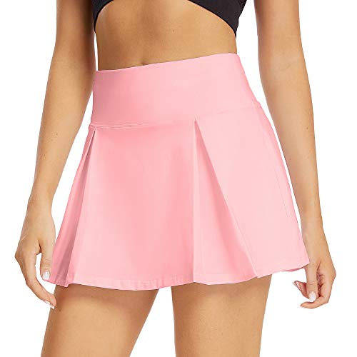 pudu Damen Tennisrock Sportrock Golfrock Hosenrock Minirock mit Innenhose & Taschen (M, 012-Rosa)