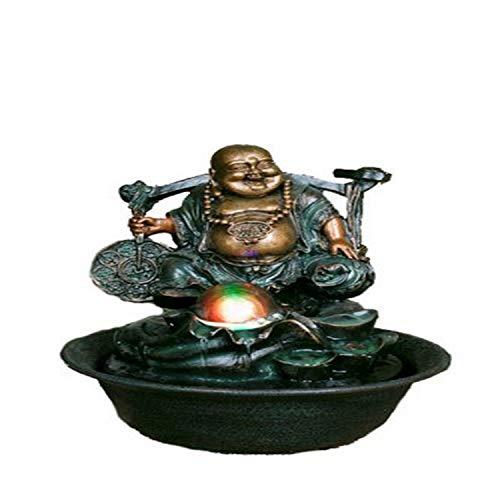 Hi-Line Gift Ltd Lucky Buddha Fountain with Spinning Ball/LED Light