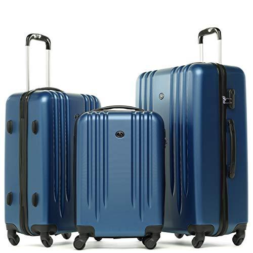 FERGÉ Juego 3 Maletas rígidas Marsella Equipaje de Viaje Dura Trolley Set con 4 Ruedas giratorias Azul