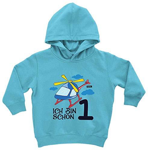 HARIZ HARIZ Baby Hoodie Ich Bin Schon Eins Hubschrauber Wolken 1 Geburtstag Kinder Baby Plus Geschenkkarte Meer Azur Blau 1-2 Jahre