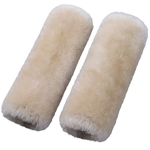 2 Pack Automotive Authentic Sheepskin Car Seat Belt Pads, Soft Shoulder Pad, Neck Cushion Protector, Genuine Natural Merino Wool (Pearl)