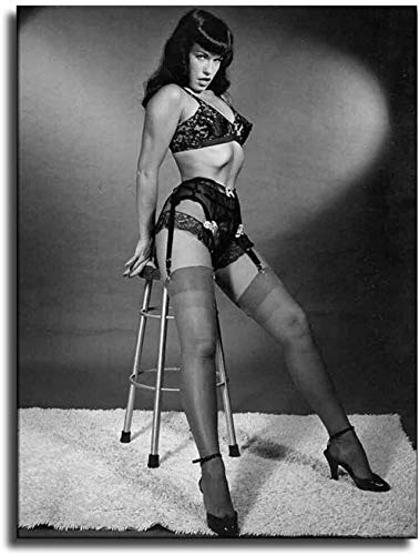 Bettie Page Prints Wall Art Home Decoration Painting Printed on Canvas -211 Paintings Oil Original Original Drawing Poster Photo (8x10inch NO Framed)